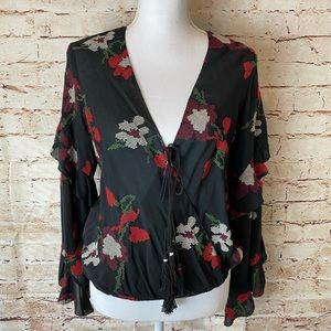 NWT Chelsea & Violet Rose Floral Wrap Ruffle Top